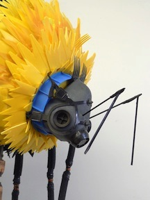 Recycled bee sculpture by Michelle Reader (detail of face)